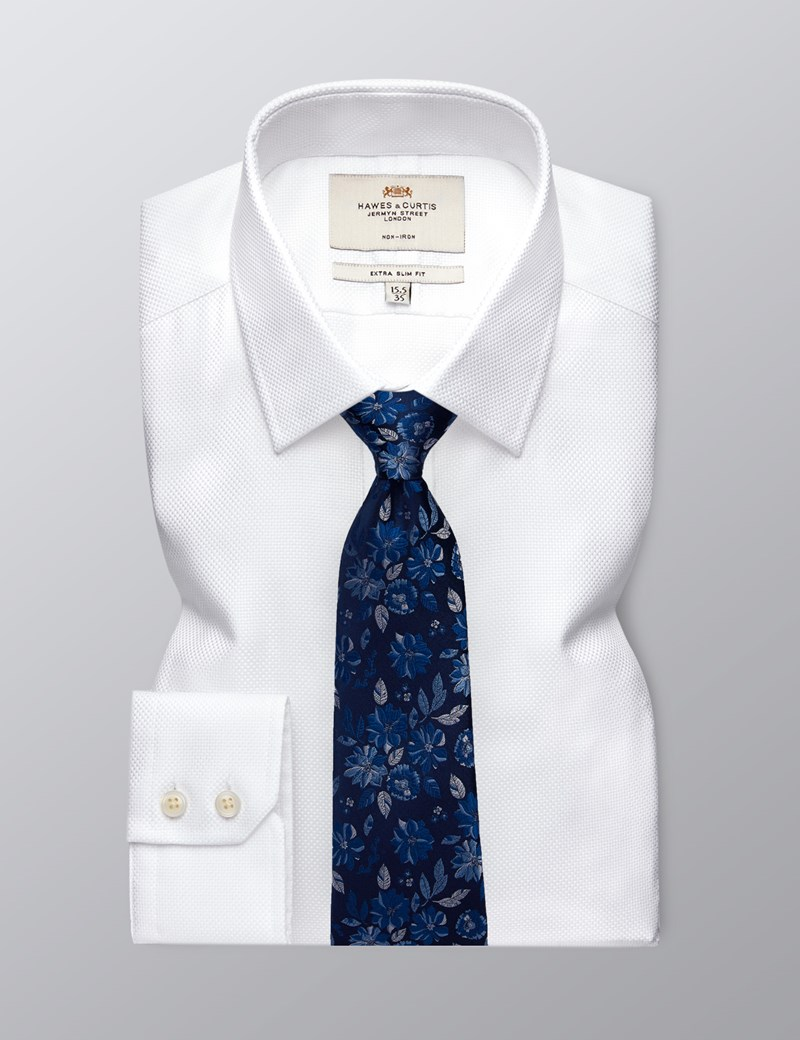 Men's Dress White Extra Slim Fit Shirt - Single Cuff - Non Iron
