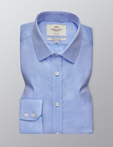 Men's Formal Blue Fabric Interest Extra Slim Fit Shirt - Single Cuff - Non Iron