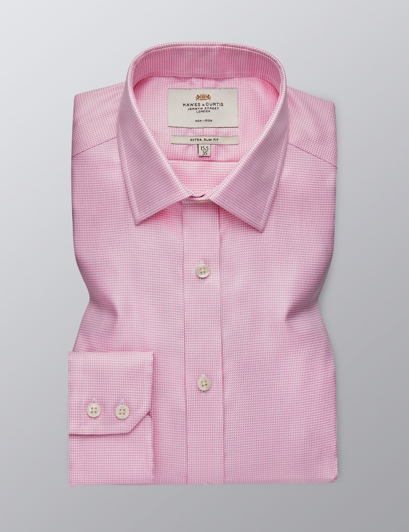 Men's Dress Pink Extra Slim Fit Shirt - Single Cuff - Non Iron