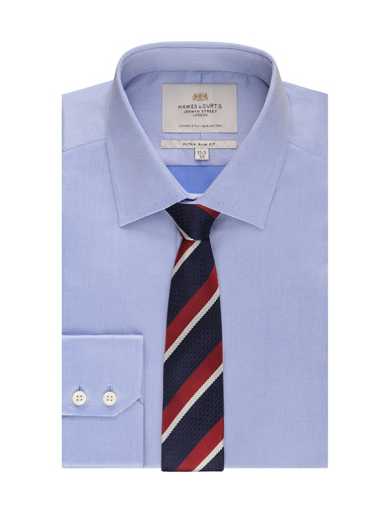 Men's Formal Blue Pique Weave Extra Slim Fit Shirt - Single Cuff - Easy Iron