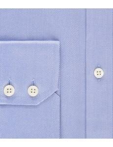 Men's Dress Blue Pique Weave Extra Slim Fit Shirt - Single Cuff - Easy Iron