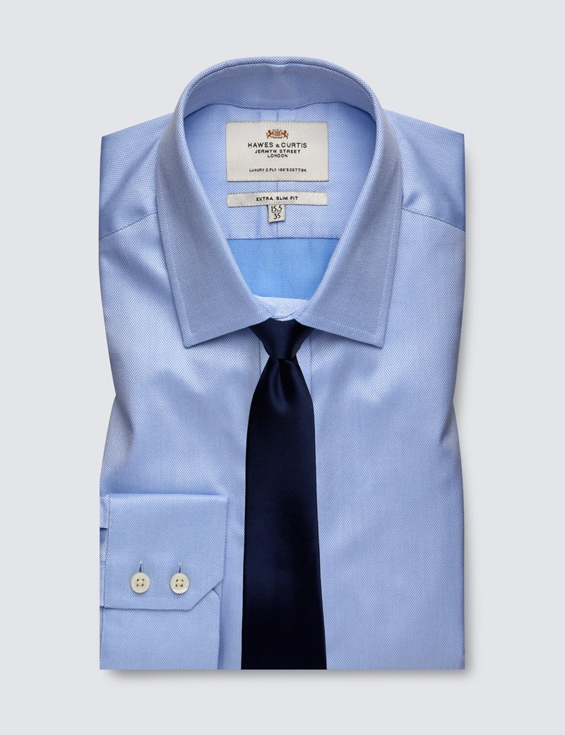 Men's Business Blue Pique Weave Extra Slim Fit Shirt - Single Cuff - Easy Iron