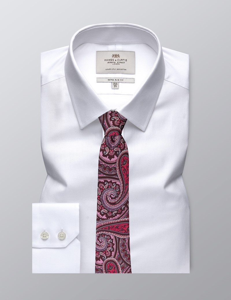 Men's Dress White Extra Slim Fit Shirt - Single Cuff - Easy Iron