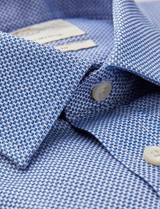 Men's Formal Navy & White Fabric Interest Extra Slim Fit Shirt - Single Cuff - Easy Iron