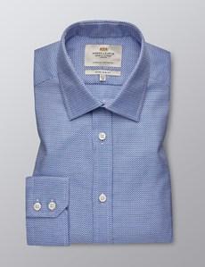 Men's Dress Navy & White Fabric Interest Extra Slim Fit Shirt - Single Cuff - Easy Iron