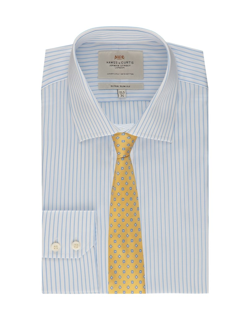 Men's Formal White & Light Blue Stripe Extra Slim Fit Shirt - Single Cuff - Easy Iron