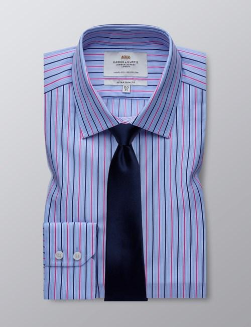 Men's Blue & Pink Multi Stripe Extra Slim Fit Dress Shirt - Single Cuff - Easy Iron