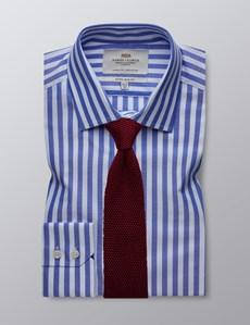 Men's Business Blue & White Stripe Extra Slim Fit Cotton Shirt - Single Cuff - Easy Iron