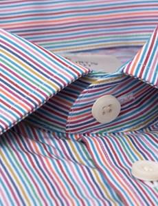 Men's Multi Colour Stripe Extra Slim Fit Business Shirt - Single Cuff - Easy Iron