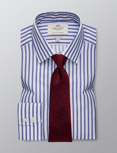 Men's Formal Navy & White Stripe Extra Slim Fit Shirt - Single Cuff - Easy Iron