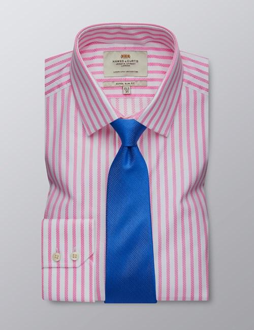 Men's Dress Pink & White Stripe Extra Slim Fit Shirt - Single Cuff - Easy Iron