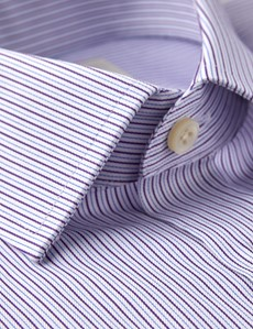 Men's Dress Purple & Blue Fine Stripe Extra Slim Fit Shirt - Single Cuff - Easy Iron
