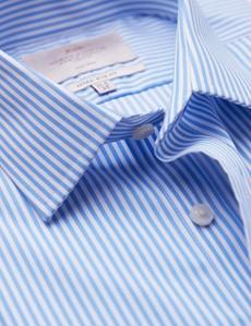 Non Iron Blue & White Bengal Stripe Extra Slim Fit Shirt