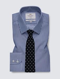 Men's Dress Navy & White Bengal Stripe Extra Slim Fit Shirt - Single Cuff - Non Iron