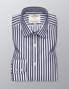 Men's Dress Navy & White Bold Stripe Extra Slim Fit Shirt - Single Cuff - Non Iron