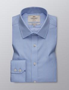 Men's Business Light Blue & White Stripe Extra Slim Fit Shirt - Single Cuff - Non Iron