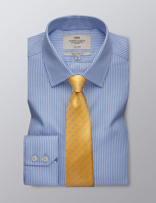 Men's Formal Light Blue & White Stripe Extra Slim Fit Shirt - Single Cuff - Non Iron
