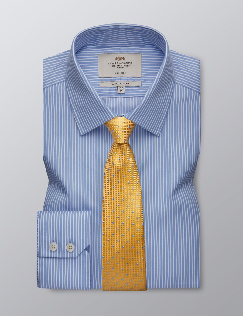 Men's Dress Light Blue & White Stripe Extra Slim Fit Shirt - Single Cuff - Non Iron