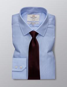 Men's Business Blue & Navy Multi Stripe Extra Slim Fit Shirt - Single Cuff - Non Iron