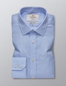 Bügelfreies Businesshemd – Extra Slim Fit – Kentkragen - Strukturierte Streifen blau