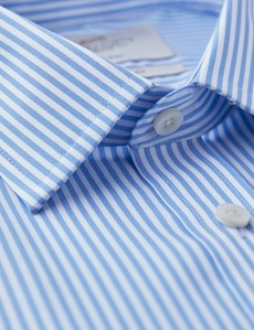 Men's Business Blue & White Bengal Stripe Extra Slim Fit Shirt - Single Cuff - Non Iron