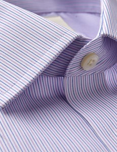 Men's Dress Pink & Blue Fine Stripe Extra Slim Fit Shirt - Single Cuff - Non Iron