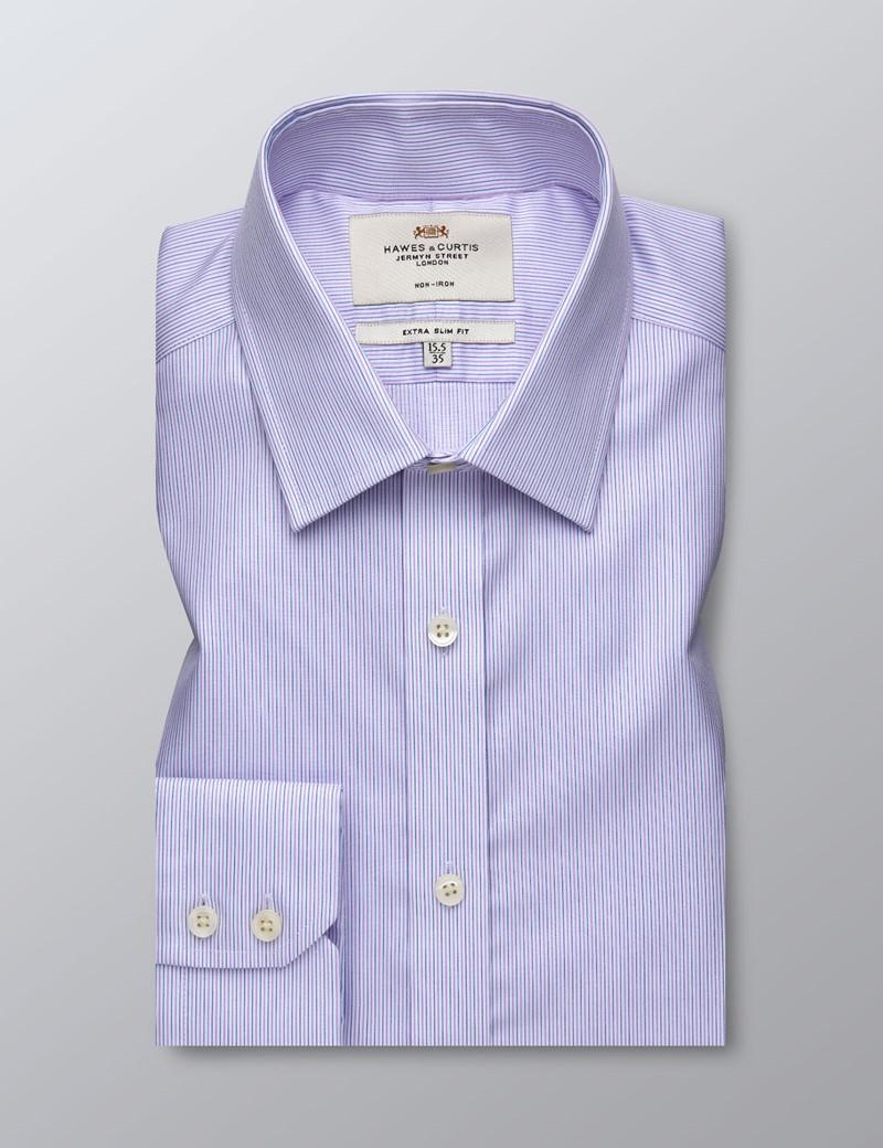 Men's Business Pink & Blue Fine Stripe Extra Slim Fit Shirt - Single Cuff - Non Iron