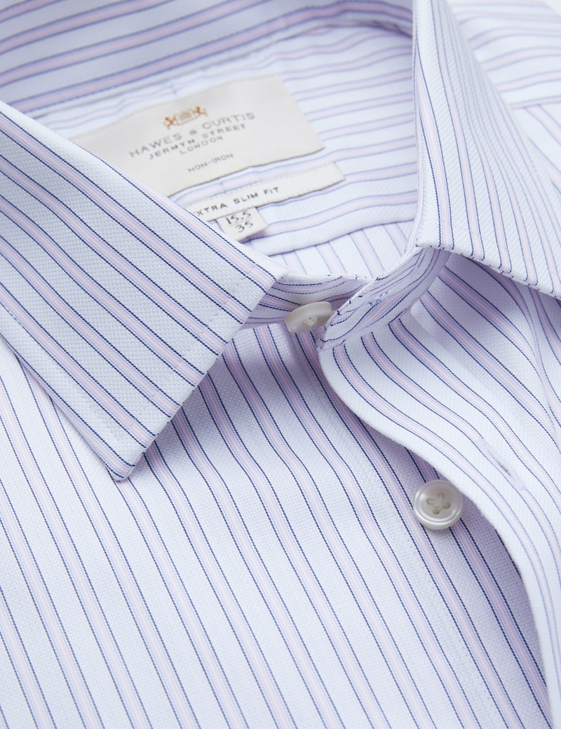 Non Iron Pink & Navy Multi Stripe Extra Slim Fit Shirt