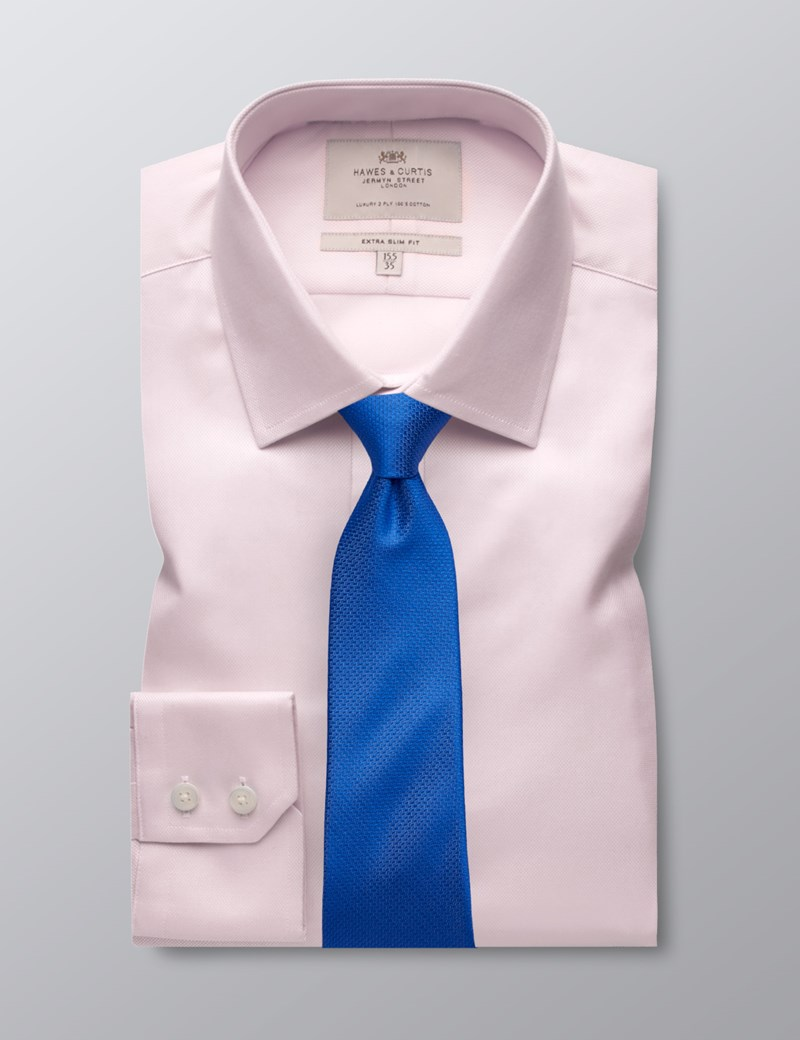 Men's Formal Pink Textured Extra Slim Shirt - Single Cuff - Easy Iron