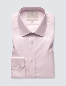 Men's Dress Pink Textured Extra Slim Shirt - Single Cuff - Easy Iron