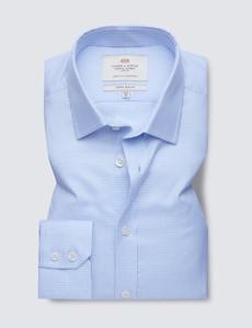 Men's Formal Blue & White Dobby Extra Slim Fit Shirt - Single Cuff - Easy Iron