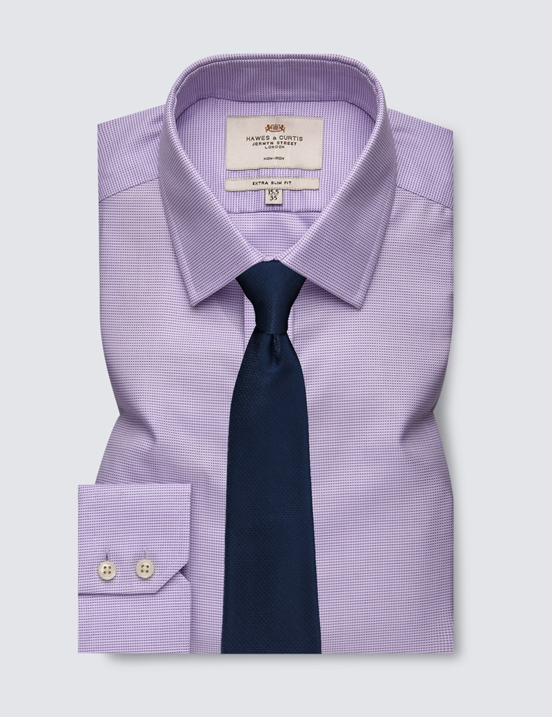 Men's Dress Lilac & White Fabric Interest Extra Slim Fit Shirt - Single Cuff - Non Iron
