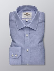 Men's Formal Navy & White Hopsack Weave Extra Slim Fit Shirt - Single Cuff - Non Iron
