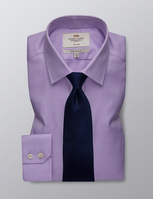 Men's Formal Lilac & White Fabric Interest Extra Slim Fit Shirt - Single Cuff - Non Iron