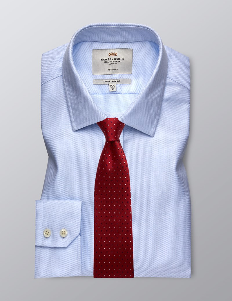 Men's Business Blue & White Fabric Interest Extra Slim Fit Shirt - Single Cuff - Non Iron