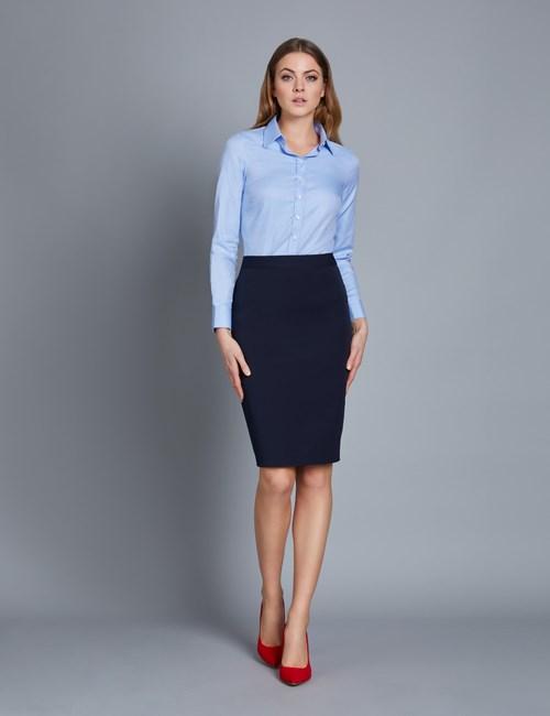 Executive Bluse – Regular Fit – Baumwolle – Twill himmelblau