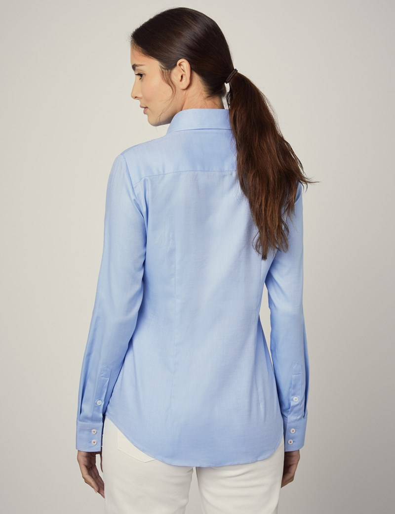 Women's Executive Blue Twill Semi Fitted Shirt - Single Cuff