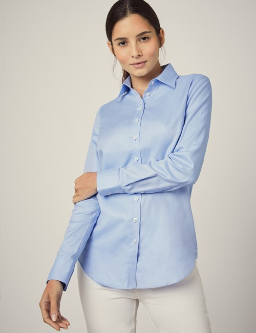 Executive Bluse – Regular Fit – Baumwolle – Twill himmelblau