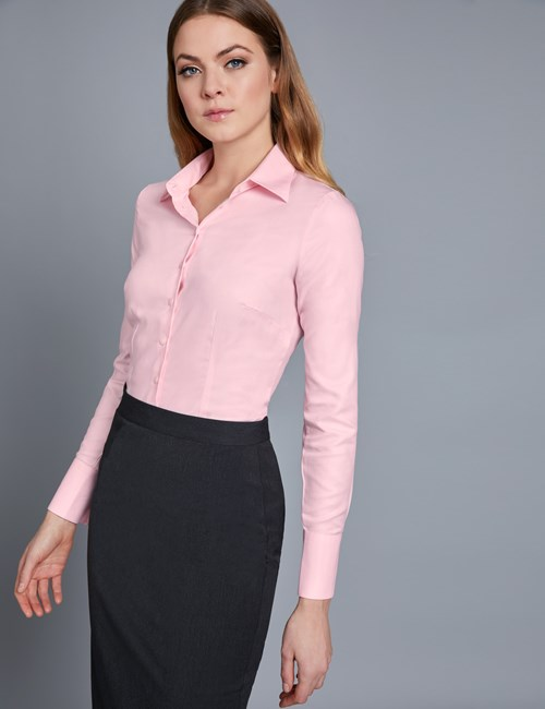 Women's Executive Pink Twill Semi Fitted Shirt - Single Cuff