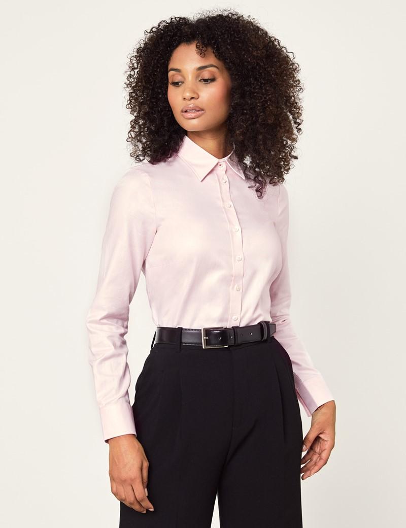 Women's Executive Pink Twill Semi Fitted Shirt - Single Cuff