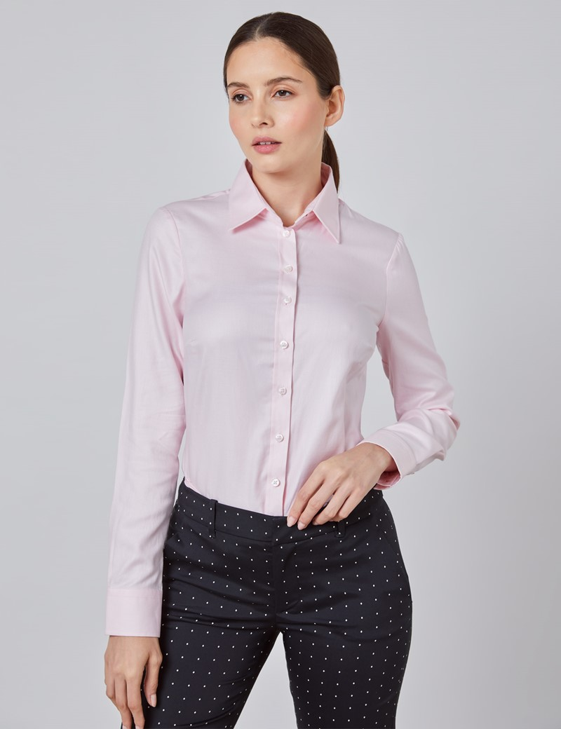 Executive Bluse – Regular Fit – Baumwolle – Twill hellpink