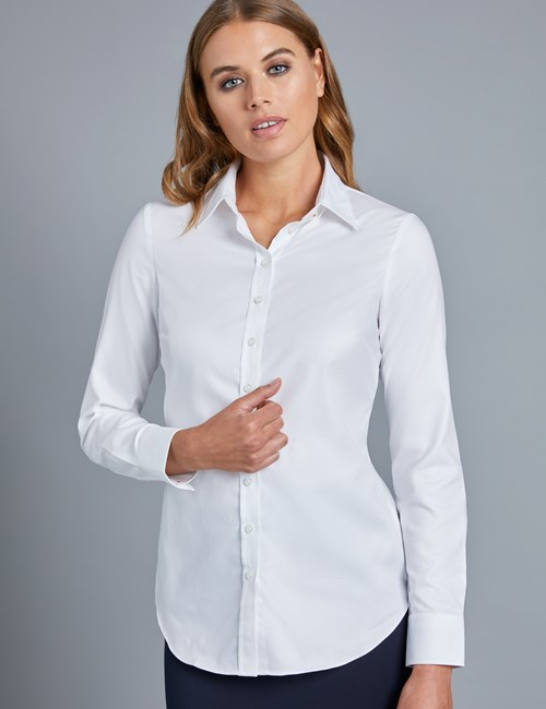 Women's Executive White Twill Semi Fitted Shirt - Single Cuff