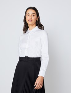 Executive Bluse – Regular Fit – Baumwolle – Twill weiß