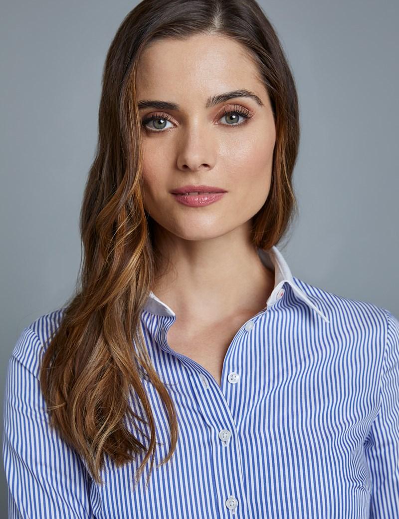 Women's Navy & White Stripe Semi Fitted Executive Shirt - Single Cuff