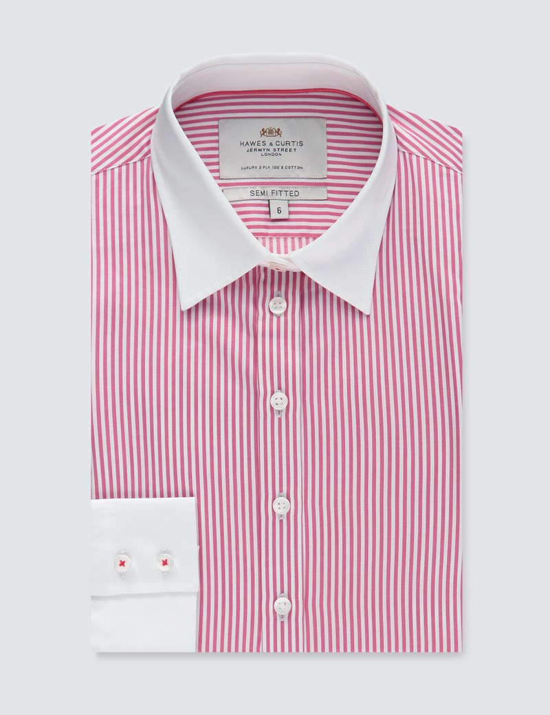 Women's Executive Rose & White Stripe Semi Fitted Shirt - Single Cuff