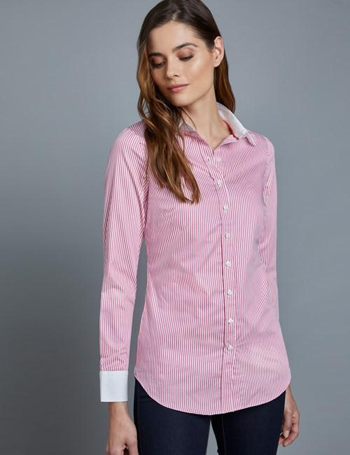 Women's Executive Rose & White Stripe Semi Fitted Shirt - Single Cuff