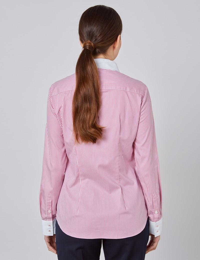 Executive Bluse – Regular Fit – Baumwolle – Rosa gestreift mit Kontrasten