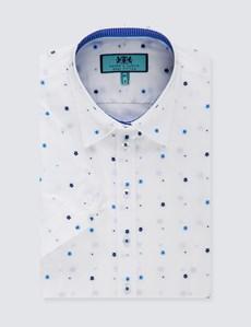 Women's White & Blue Dobby Weave Semi Fitted Shirt - Short Sleeve
