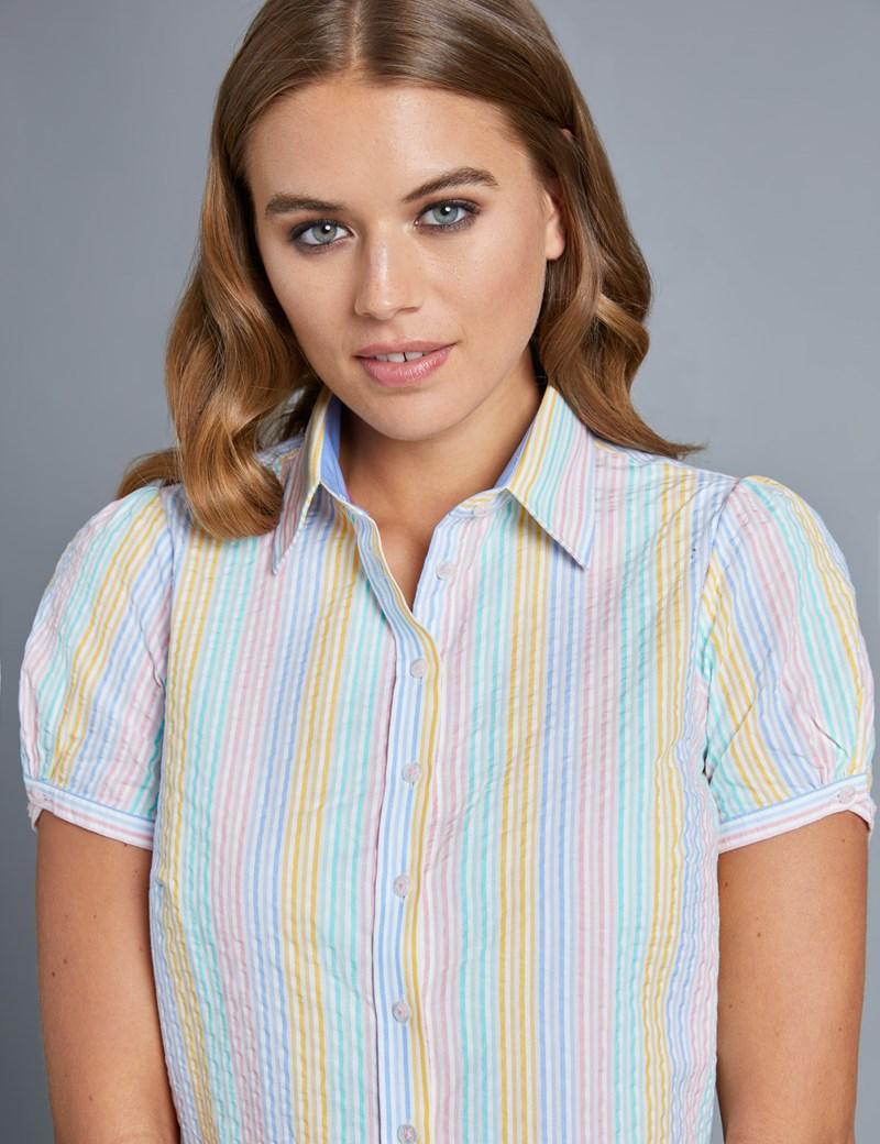 Women's Blue & Yellow Semi Fitted Shirt - Short Sleeve