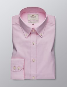 Men's Dress Pink Dobby Slim Fit Shirt - Button Down - Single Cuff - Easy Iron